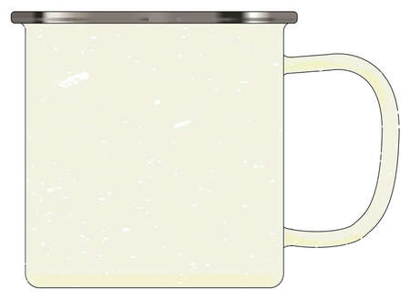 mottle: A typical white enamel tin cup with white mottle FX over a white background