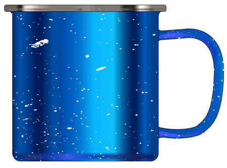 A typical blue coloured tin cup with white mottle FX over a white background Illustration