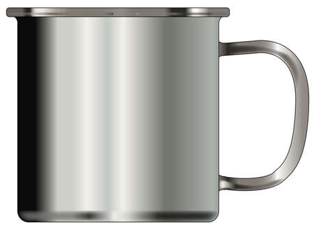 A typical silver coloured tin cup over a white background Illustration