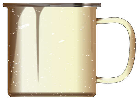 A typical white enamel tin cup with white mottle FX over a white background