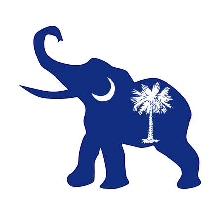 The South Carolina Republican elephant flag over a white background