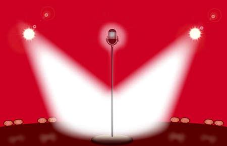 Un punto del micrófono encendido por dos proyectores como fondo rojo