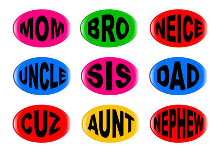A collection of family  3D buttons with various text instructions isolated on a white background Stock Vector - 77839061