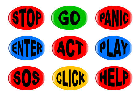 A collection of 3D buttons with various text instructions isolated on white