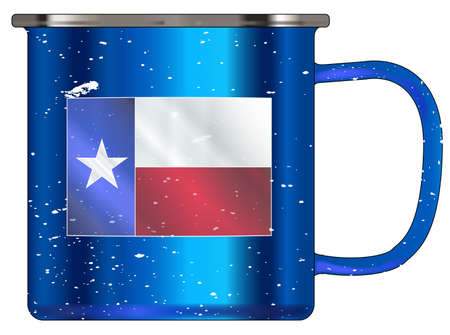 matallic: A typical blue coloured tin cup with white mottle FX over a white background and the Texan flag