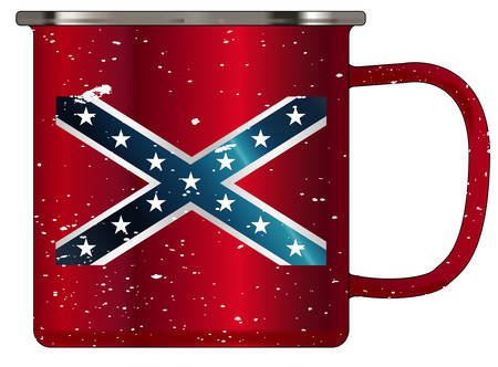 A typical red coloured tin cup with white mottle FX over a white background and the Rebel flag Illustration