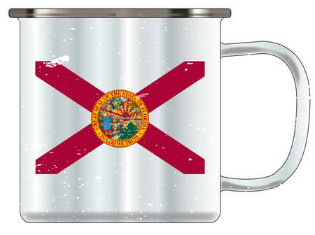 A typical blue coloured tin cup with white mottle FX over a white background and the florida flag Illustration