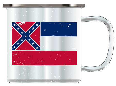 A typical blue coloured tin cup with white mottle FX over a white background and the Mississippi flag Illustration