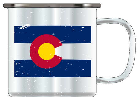 A typical blue coloured tin cup with white mottle FX over a white background and the Colorado flag