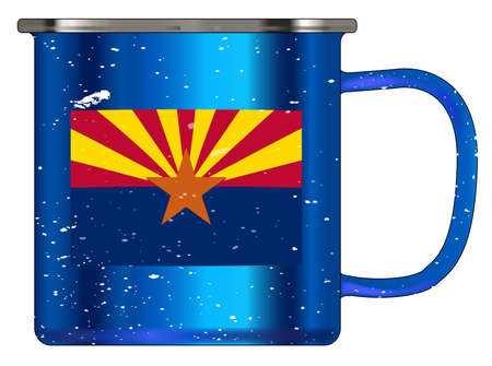 A typical blue coloured tin cup with white mottle FX over a white background and the Arizona flag