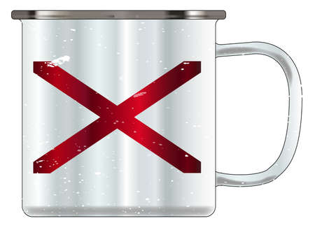 A typical blue coloured tin cup with white mottle FX over a white background and the Alabama flag