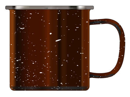 A typical dirty coloured tin cup with white mottle FX over a white background Illustration