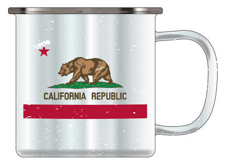 A typical blue coloured tin cup with white mottle FX over a white background and the Californian flag