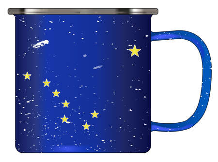 matallic: A typical blue coloured tin cup with white mottle FX over a white background and the Alaska flag