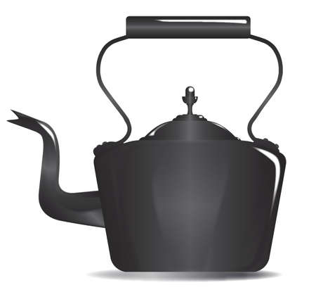 Typical Victorian Style metal kettle isolated over a white background
