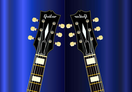 A typical solic body electric guitar with reflectiopn over a blue background