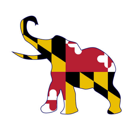 maryland flag: The Maryland Republican elephant flag over a white background Illustration