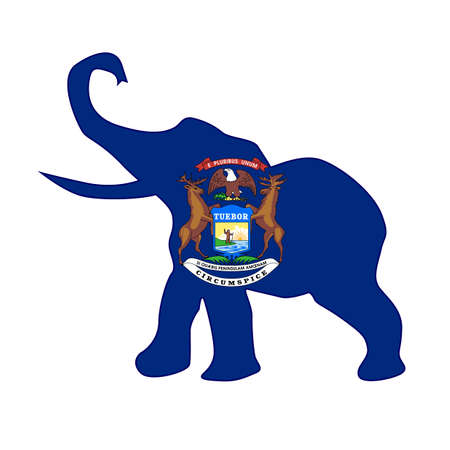 The Michigan Republican elephant flag over a white background Illustration