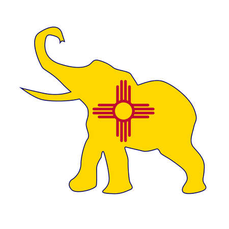 The New Mexico Republican elephant flag over a white background Illustration