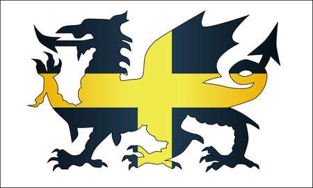 The national dragon and the flag od Saint David of Wales