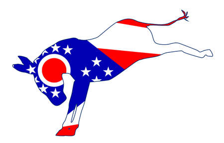 The Ohio Democrat party donkey flag over a white background Illustration