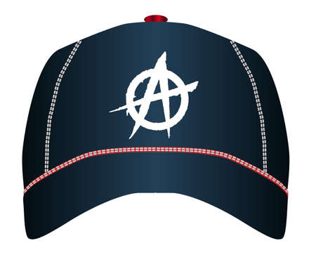 A black typical baseball cap with anarchy graffiti style logo