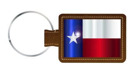 A brown leather key fob and ring over a white background with the Texan flag