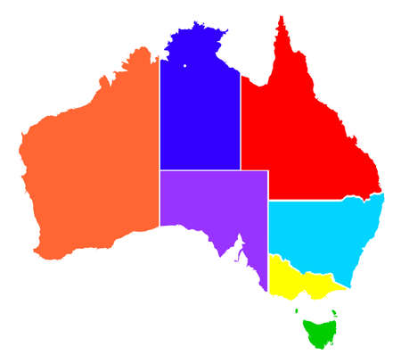 Colour silhouette map of the Australian states over a white background