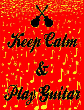 Keep Calm guitar and music background poster