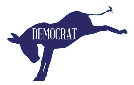 The Democrat party blue donkey over a white background