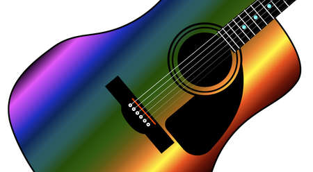 A typical western style acoustic guitar in rainbow style color isolated over a white background.