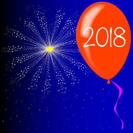 A flyaway red balloon with a skyrocket explosion with fallout and 2018 new yearstext.