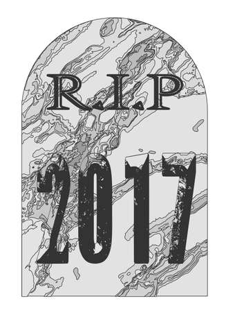 A typical gravestone with the inscription RIP 2017 over a white background