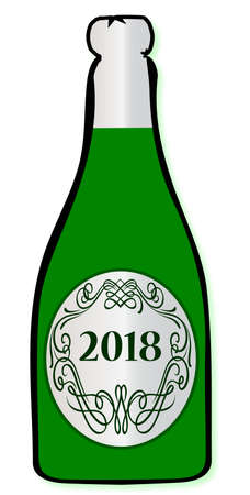 A 2018 congratulations bottle of champagne  on a white background Stok Fotoğraf - 81443023