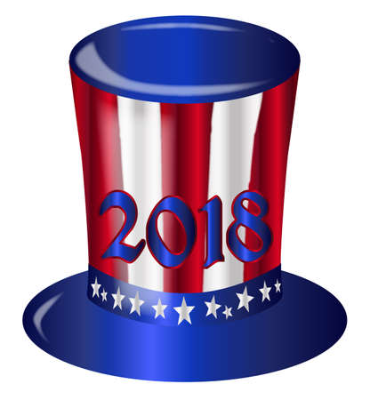 A top hat with a star spangled banner colors and stars over a white background with the year 2018