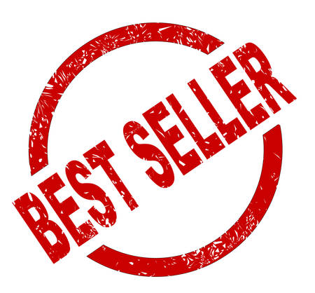 An best seller red ink stamp on a white background