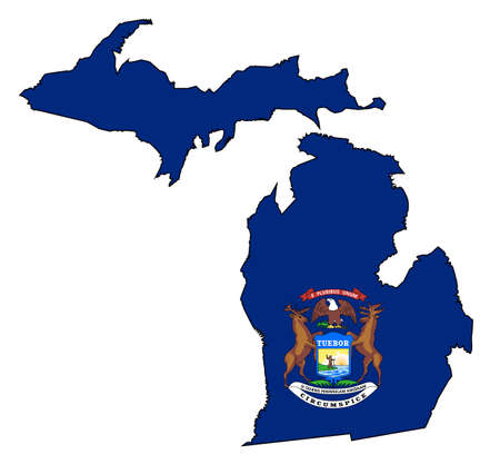 Outline map of the state of Michigan with map inset