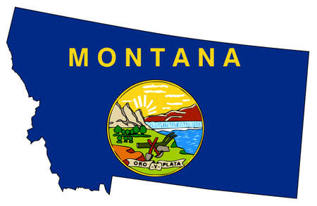 Outline of the state of Montana isolated with flag inset 向量圖像