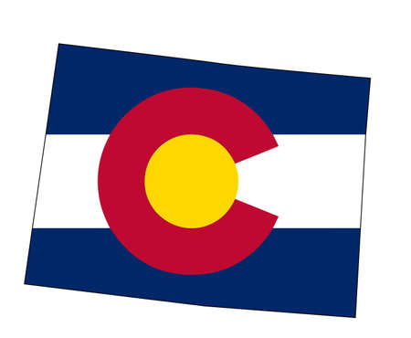 State map outline of Colorado over a white background with inset flag