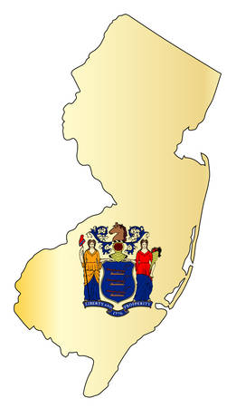 Outline map of the state of New Jersey with map insert. Illustration