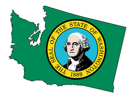 george washington: Outline of the state of Washington isolated with map insert. Illustration