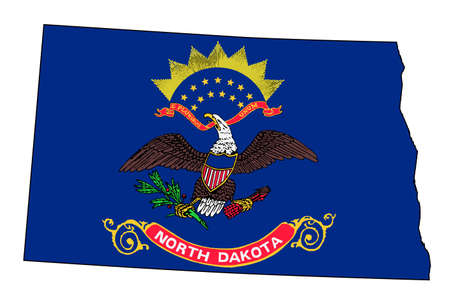 Outline of the state of North Dakota isolated with insert flag. Illustration