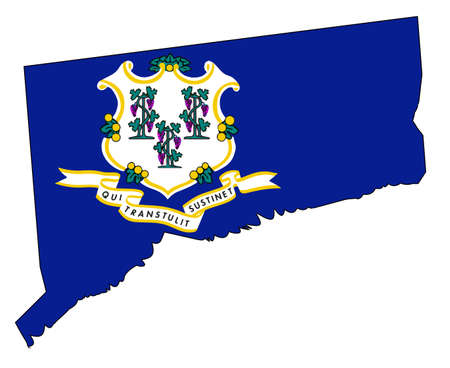 State map outline of Connecticut with flag insert. Illustration
