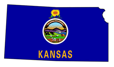 Outloine map of the state of Kansas over white with flag insert.