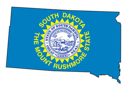 Outline of the state of South Dakota isolated with flag insert. Illustration