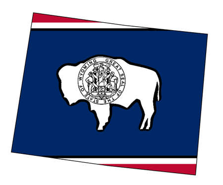 Outline of the state of Wyoming isolated with flag insert.