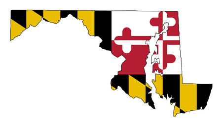 Outline map of the state of Maryland with map inset Ilustração