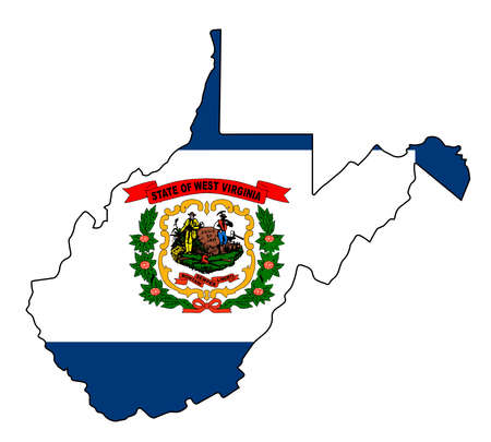 West Virginia Outline Map over a white background with flag inset