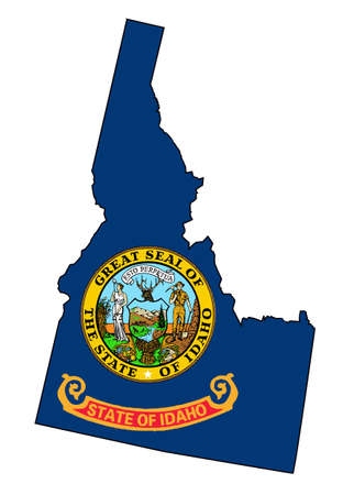 Outline of the state of Idaho isolated with flag inset