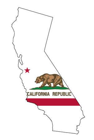 フラグはめ込みと白地にカリフォルニアの状態マップのアウトライン